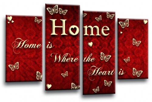 Home Quote Wall Art Print Red Cream Love Picture